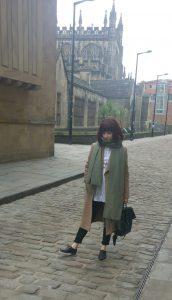 711 Levis Jeans, Topshop Green scarf, Jaegar Camel coat
