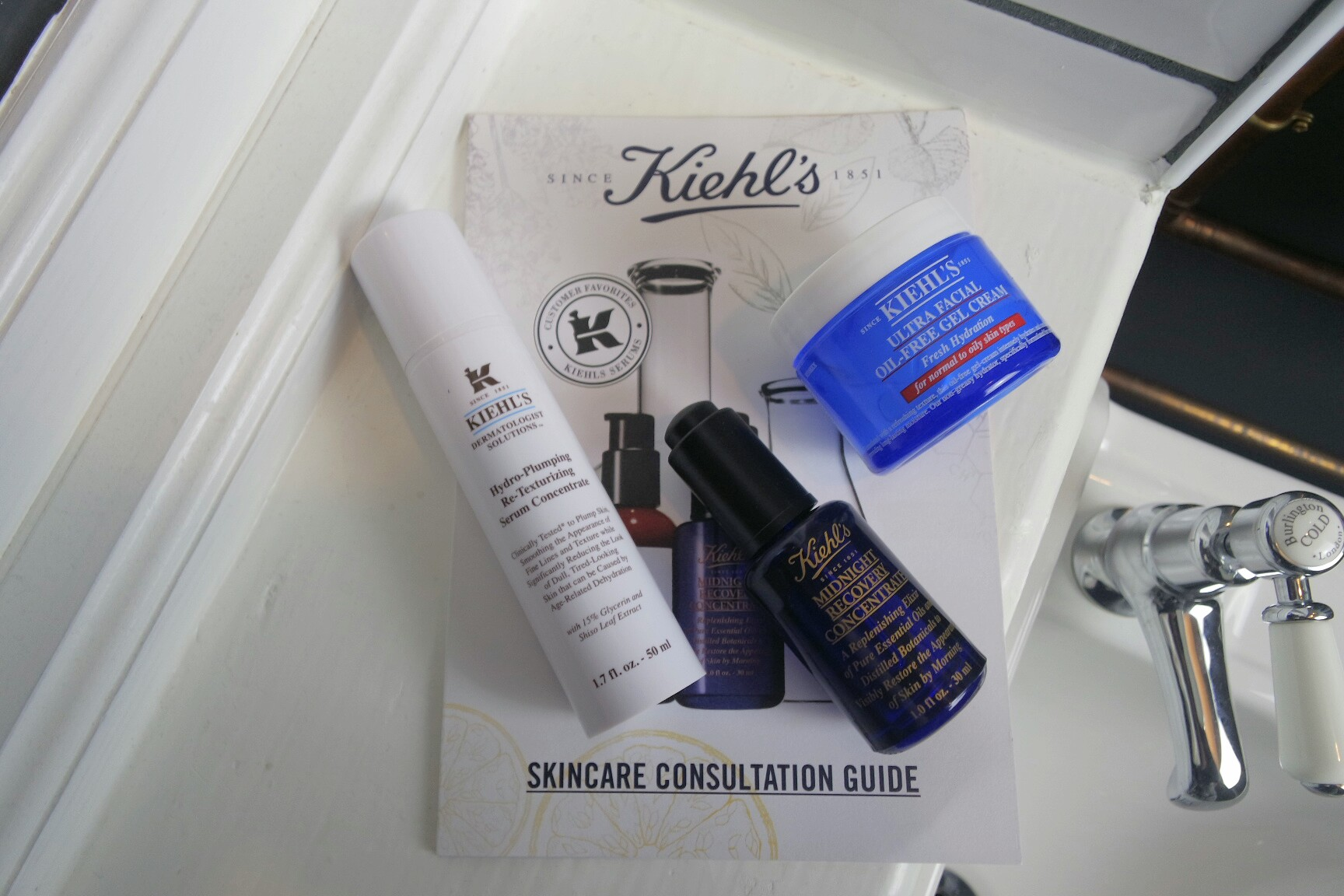 Kiehls Hydro-plumping, Re-texturizing Serum Concentrate, Kiehls Ultra Facial Oil-Free Gel Cream and Kiehls Midnight Recovery Concentrate