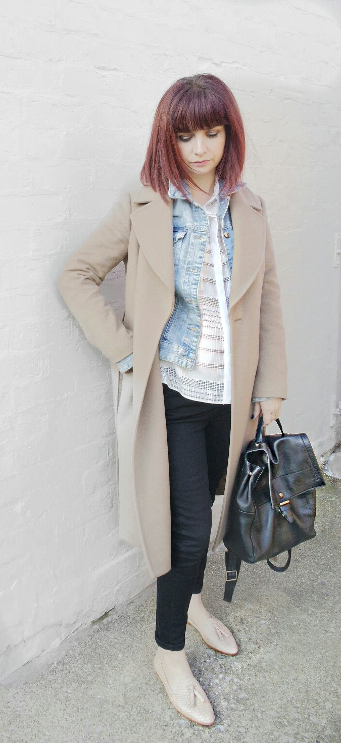 Layers Jaegar Camelcoat H&M DEnimJacket Primark Cotton Shirt Zara Nude Embossed slippers Spring capsule wardrobe