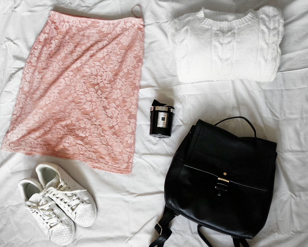 George Pink lace skirt, Adidas Stan Smiths, Marks and Spencer Rucksack, Cable knit sweater (handmade)