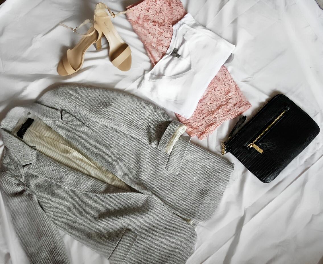 George Pink lace skirt, Zara Grey Jacket, Asos White tee, New Look Nude sandels, Topshop clutch
