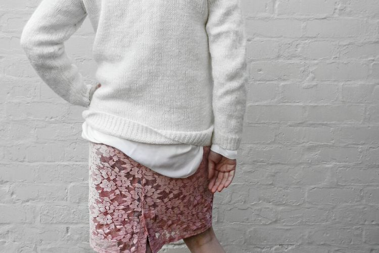 zara white shirt, cable knit jumper, george pink lace skirt, zara lace up pumps