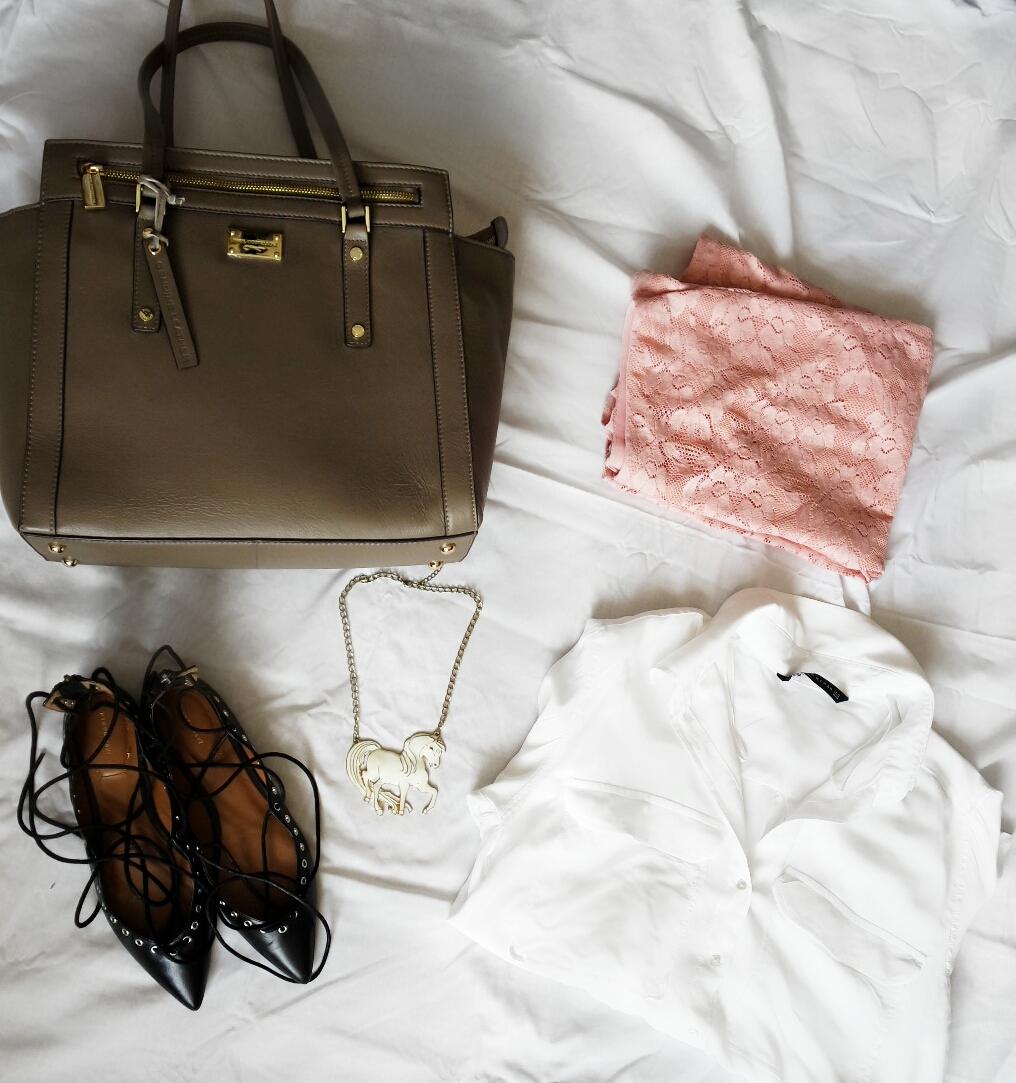 Zara White Shirt, Zara Laceup pumps, George Pink Lace Skirt,Paul Costelloe The Besig