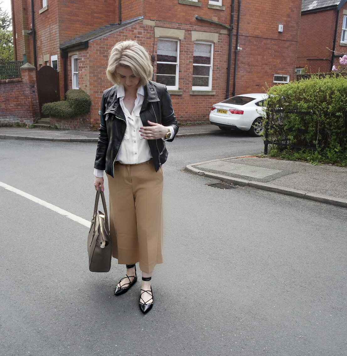 River Island Camel Culottes,Zara White Shirt,All Saints Leather Jacket,Zara Studded Pumps and Paul Costello