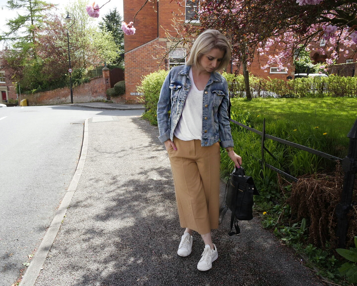 River Island Camel Culottes, Asos White Tee, H&M Denim Jacket, Adidas Stan Smiths and Marks and Spencer Leather Back pack.
