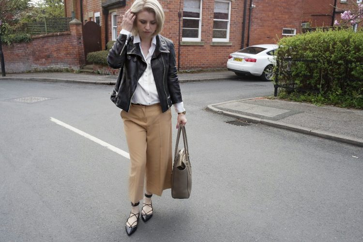 River Island Camel Culottes, Zara White Shirt, All Saints Leather Jacket, Zara Studded Lace up Pumps and Paul Costello Bag