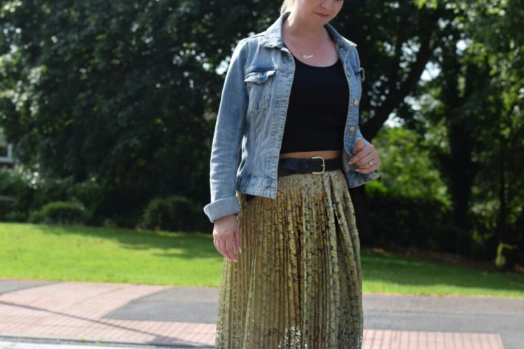 Zara Lace Maxi Skirt, M&S Black Vest top,HM Blue Denim Jacket and Wallis Tan Chelsea Boots