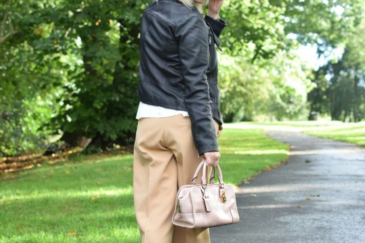 All saints Leather jacket, Peasant white blouse,River Island Camel Culottes,Zara Ballet Pumps, Amazona Loewe bag
