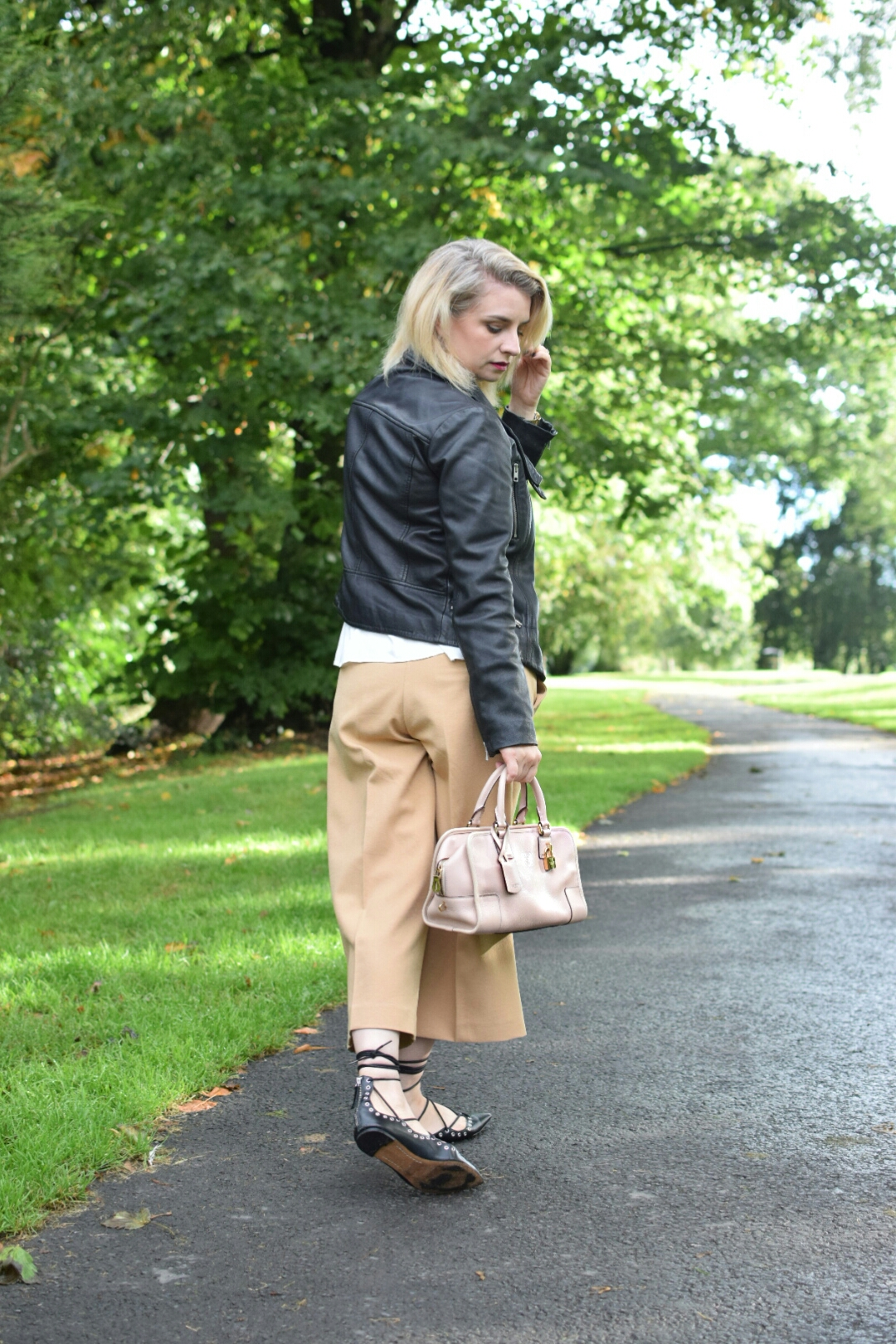 All saints Leather jacket, Peasant white blouse,River Island Camel Culottes,Zara Ballet Pumps, Amazona Loewe bag