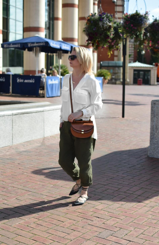 Zara Shirt, Zara Utility Trousers, Zara Pointed Studded pumps, Chloe Georgia Crossbody bag