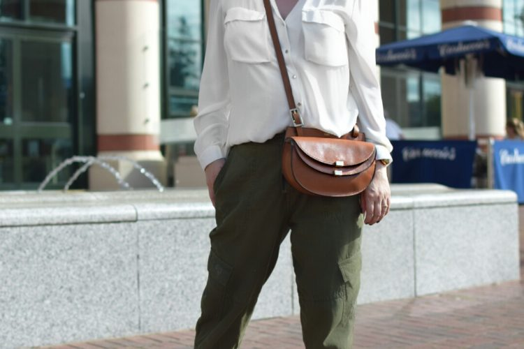 Zara Shirt, Zara Utility Trousers, Zara Pointed Studded pumps, Chloe Georgia Crossbody bag