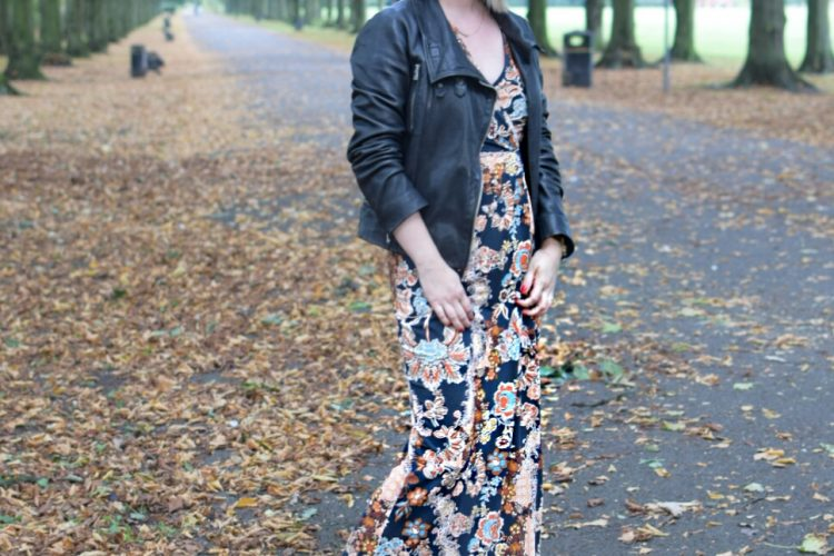 All Saints Bales Leather Jacket, Marks and Spencer Floral Maxi Dress and Animal Print Converse Trainer Boots.