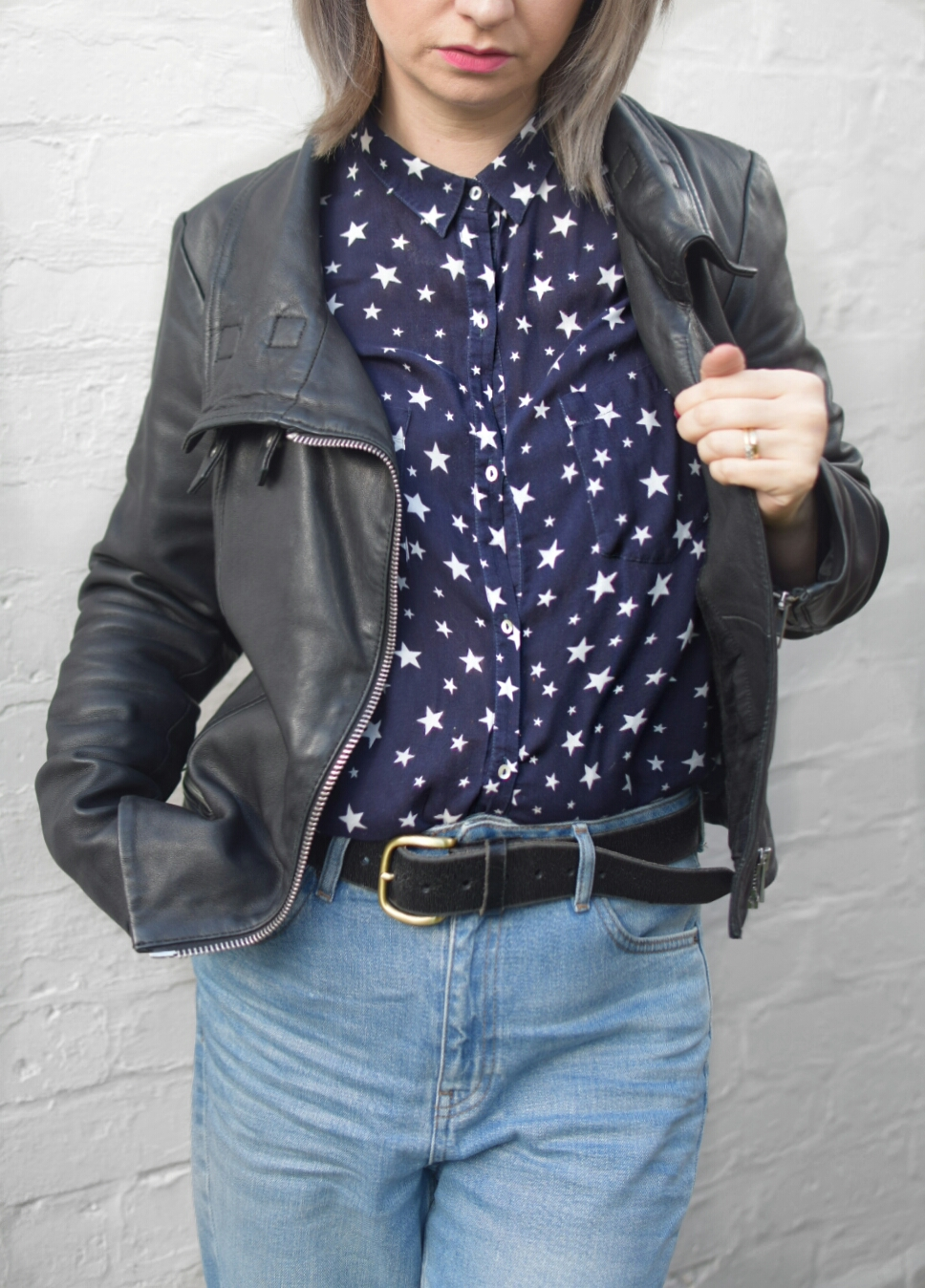 All Saints Bales Leather Jacket, Topshop MOM highwaisted Jeans and Zara Star Shirt