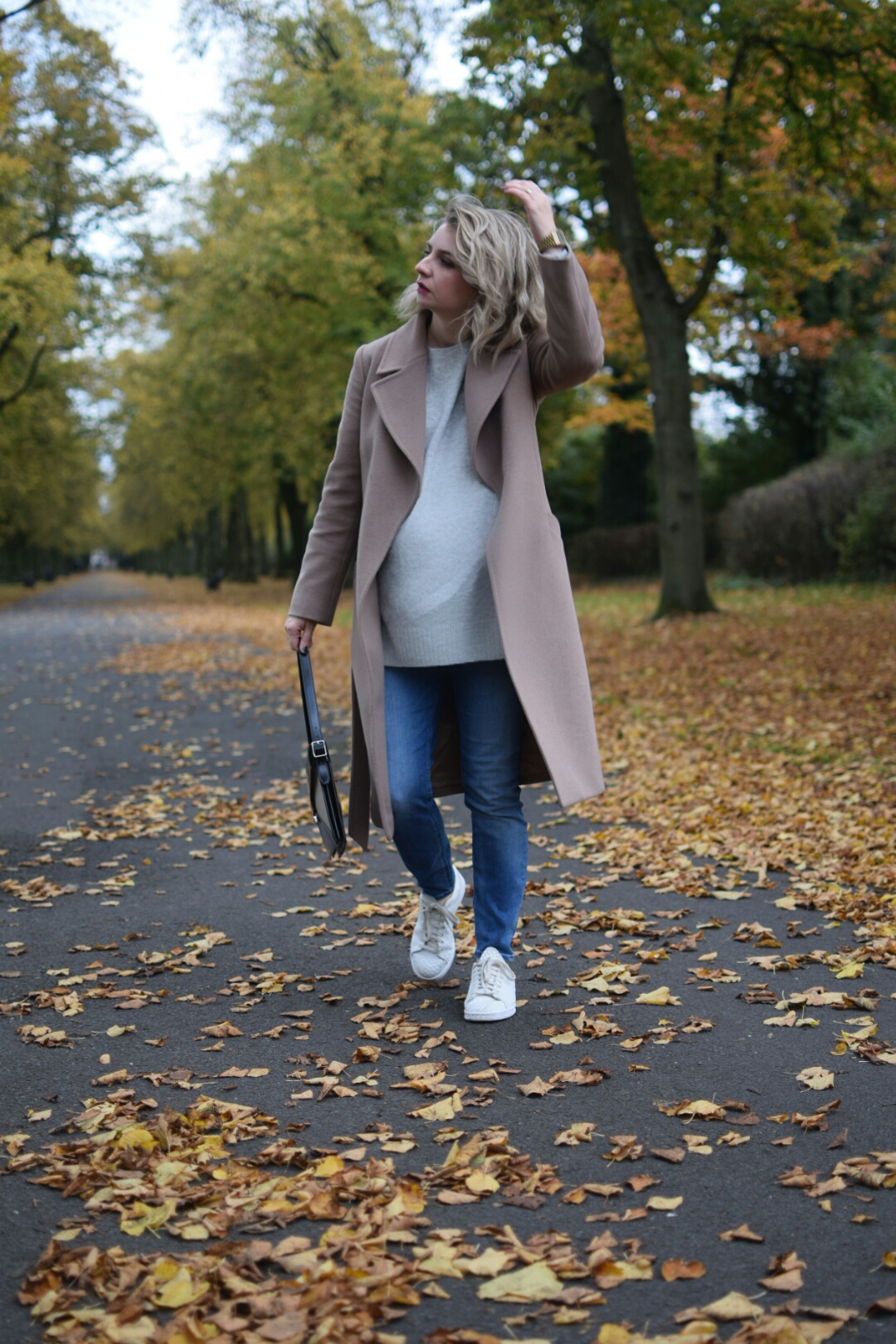 Jaegar Camel Coat,HM Grey Jumper,Topshop MOM Highwaisted Jeans,Adidas Stan Smiths and Celine Diamond Shoulder Bag
