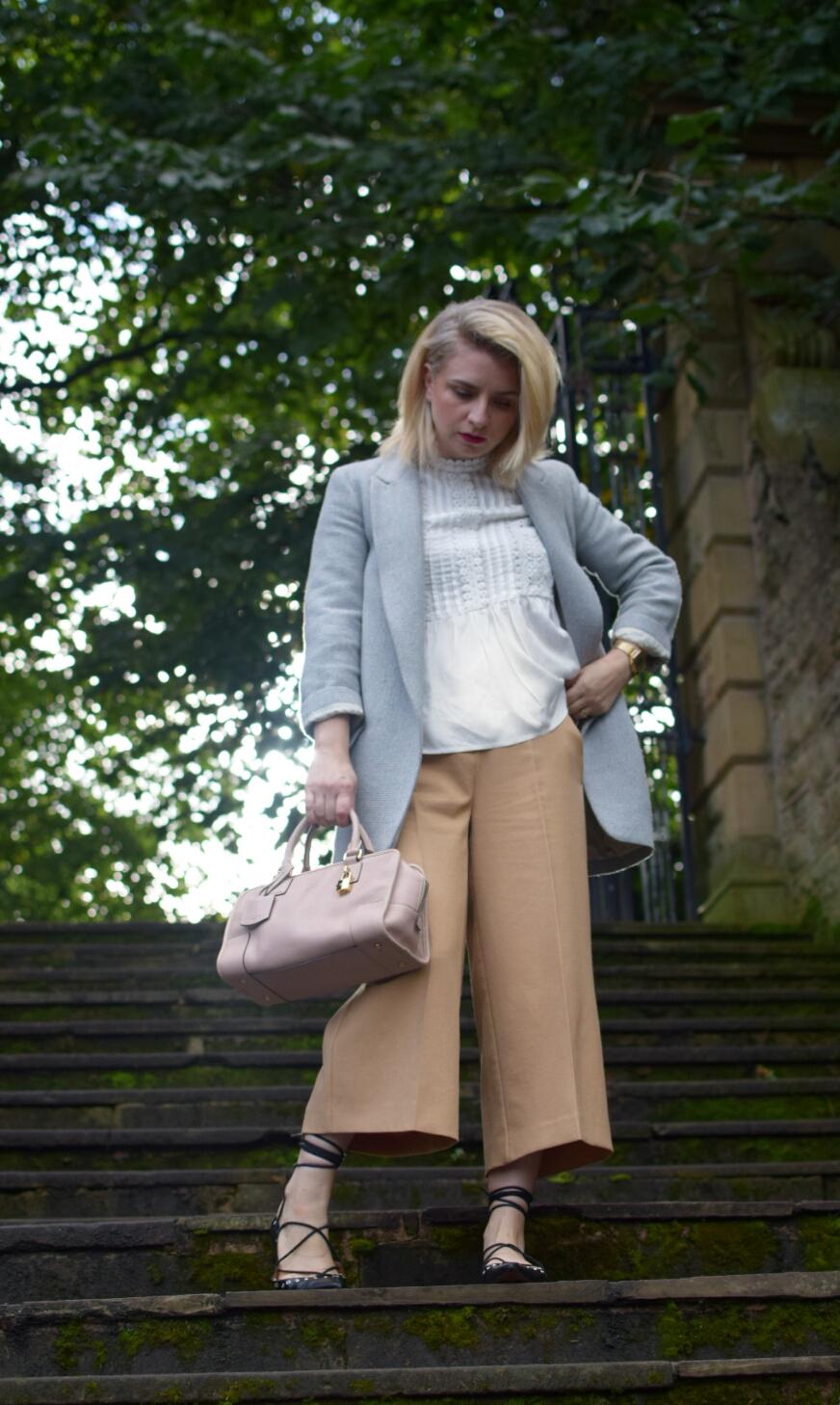 Zara Longline Blazer, Zara Smock Top,River Island Culottes, Zara lace up pumps,Loewe Bag