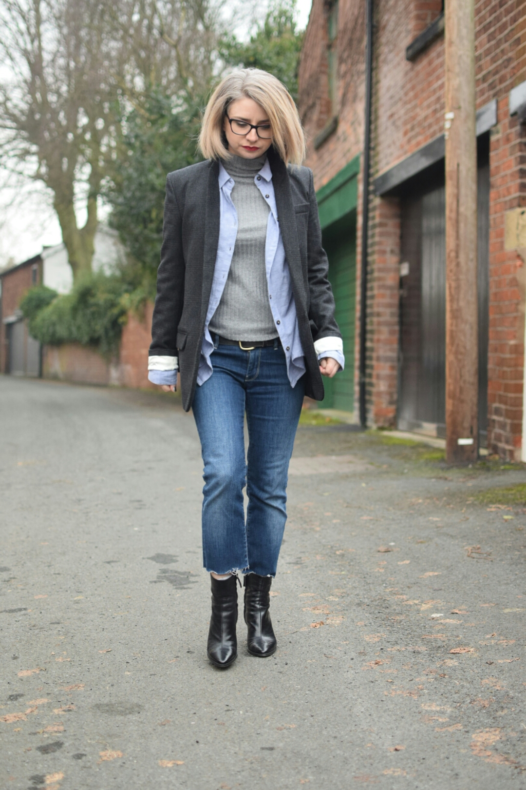 Isabel Marant Igor Single Breasted Wool-Blend Jacket, Topshop Skinny Ribbed Turtleneck, Topshop Blue Oversized Shirt, 7ForAll Mankind and Zara Ankle Boots.