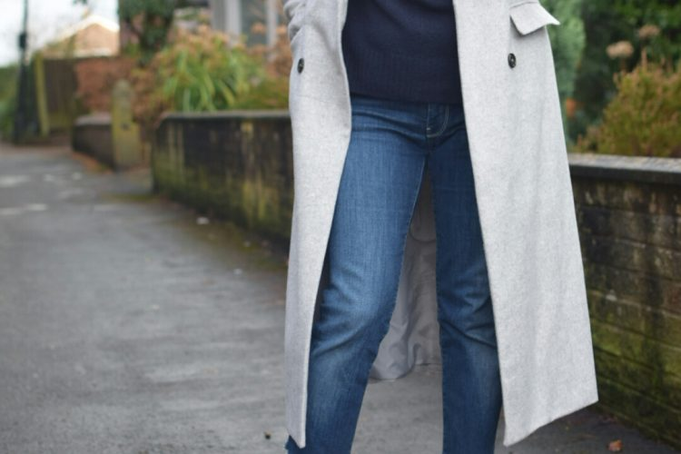 New Look Grey Coat, Jigsaw Sculpted Sleeve sweater, 7 for All Mankind Jeans and Carvela Court Shoes.