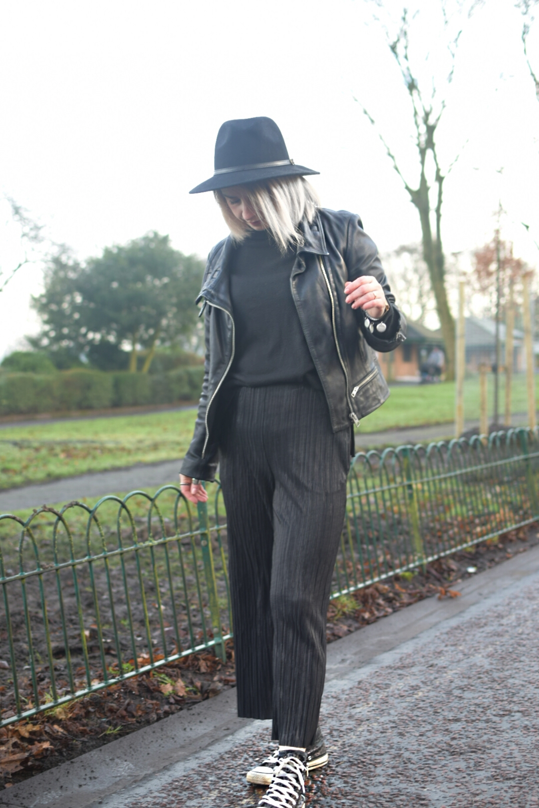 Topshop Matte Plisse Trousers, Converse Hi Tops,All Saints Bales Leather Jacket and JDY Black Polarneck.