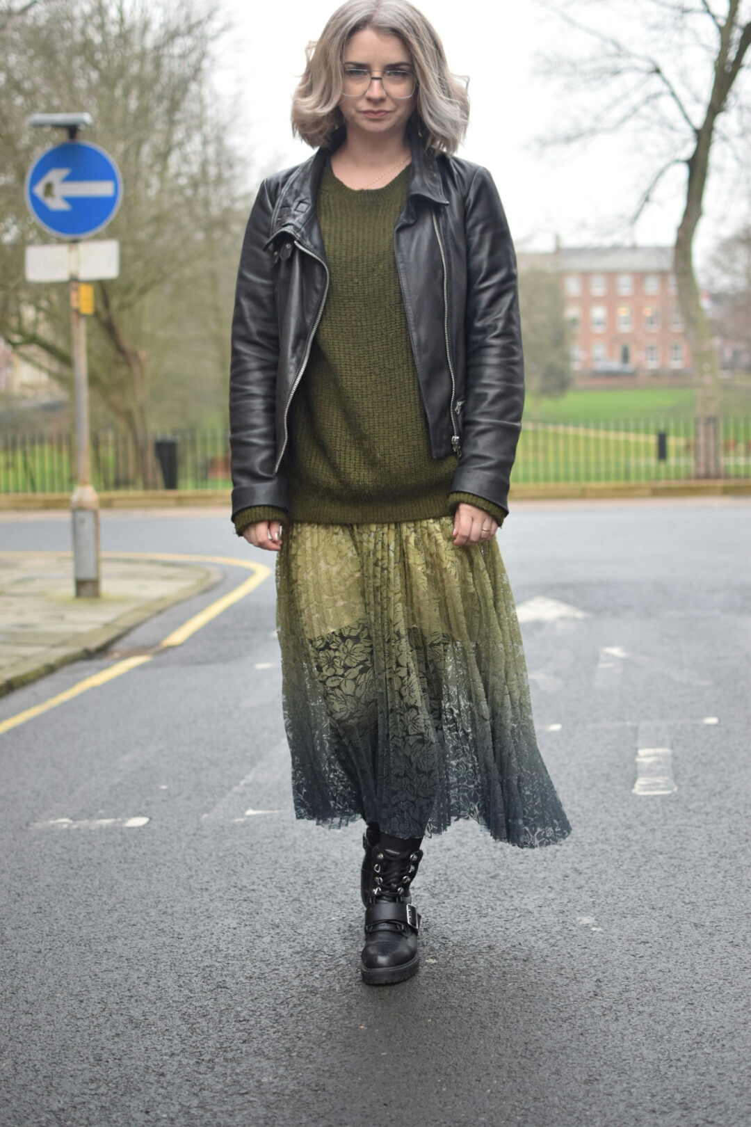 Zara Tie dye accordion lace skirt, Topshop Khaki Jumper, All Saints Bales Leather Jacket and New Look Biker Boots.