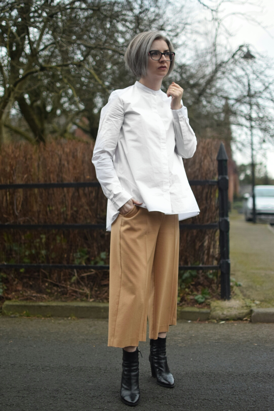 COS White Shirt, River Island Camel Culottes, and Zara Ankle Boots.