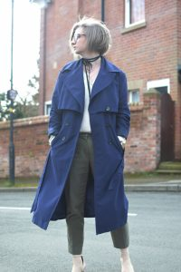 Primark Navy Trench, HM Cropped Khaki Trousers,Zara Cream Blouse and Topshop Mary Jane Blush shoes.