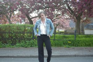Hm Denim Jacket, Zara White Shirt, Mango Flared Trousers,and Stan Smiths.