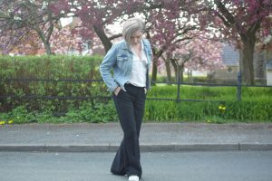 Hm Denim Jacket, Zara White Shirt, Mango Flared Trousers,and Stan Smiths.