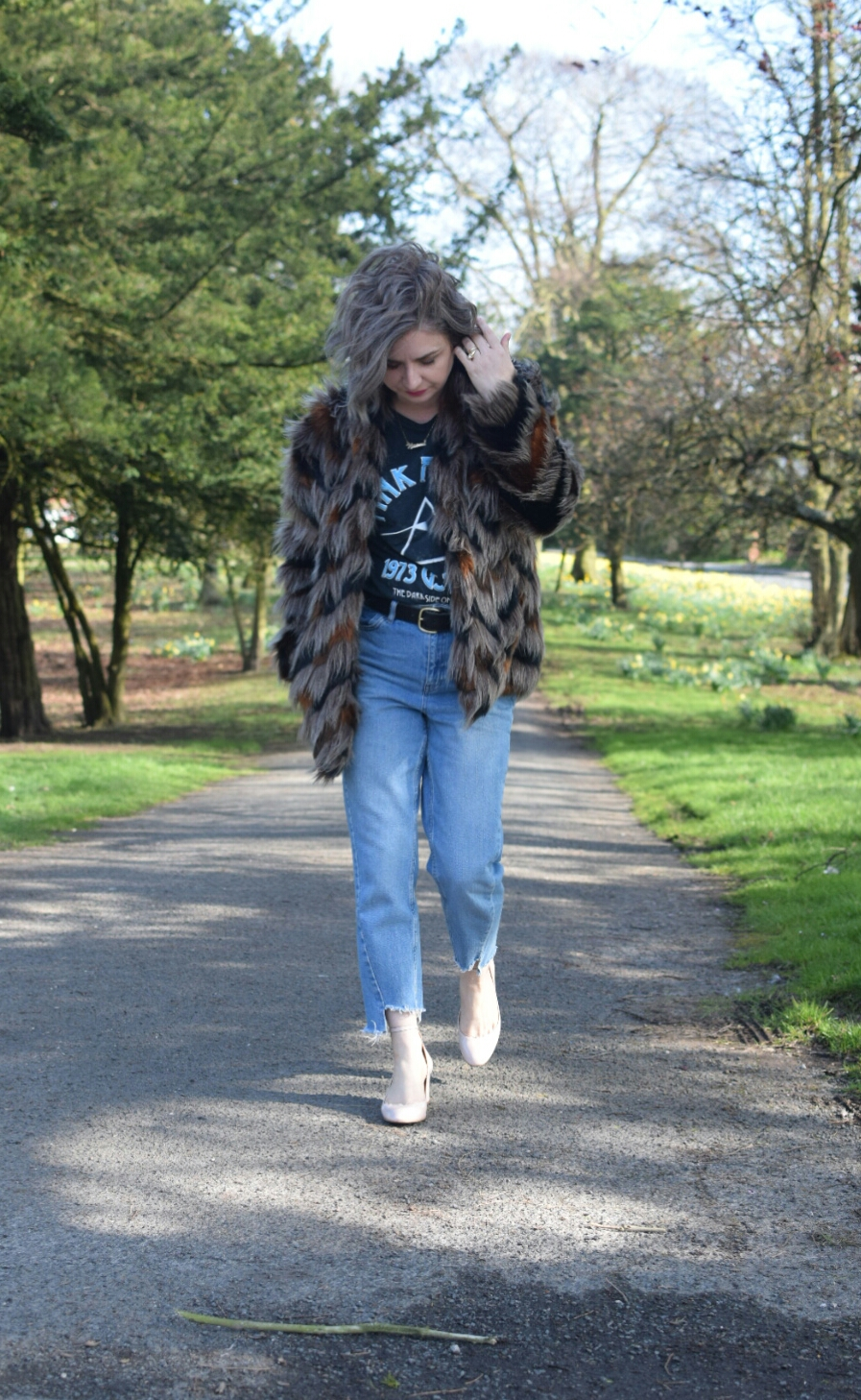 Kaleidoscope Faux Fur Coat, Topshop Highwaisted Jeans, Primark Band tee, Topshop Mary Janes Journey Shoes.
