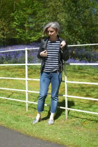 La Redoute Breton Top, 7ForAllMankind Jeans, All Saints The Bales Leather Jacket and Marks and Spencer Metallic Backless Loafers.