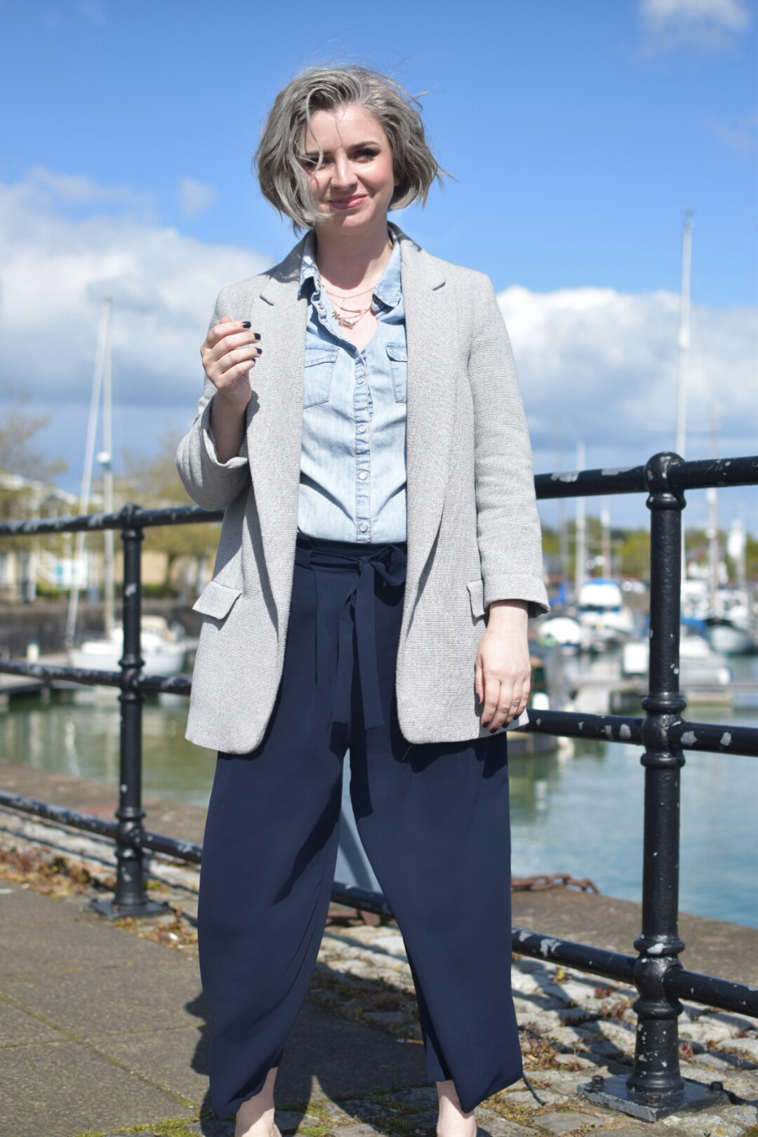 Zara Grey Blazer.HM Denim Shirt, Zara Navy Culottes and M+S Backless Loafers.