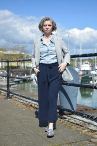 Zara Grey Blazer, HM Denim Shirt, Zara Culottes and M+S Metallic Backless Loafers.