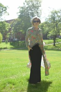 Zara Long Striped and Floral Dress, Mango Suit Trousers.