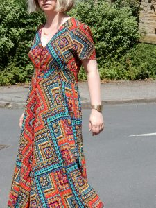 Izabel London Multi Red Stella Morgan Maxi Dress and Topshop Cross strap sandals.