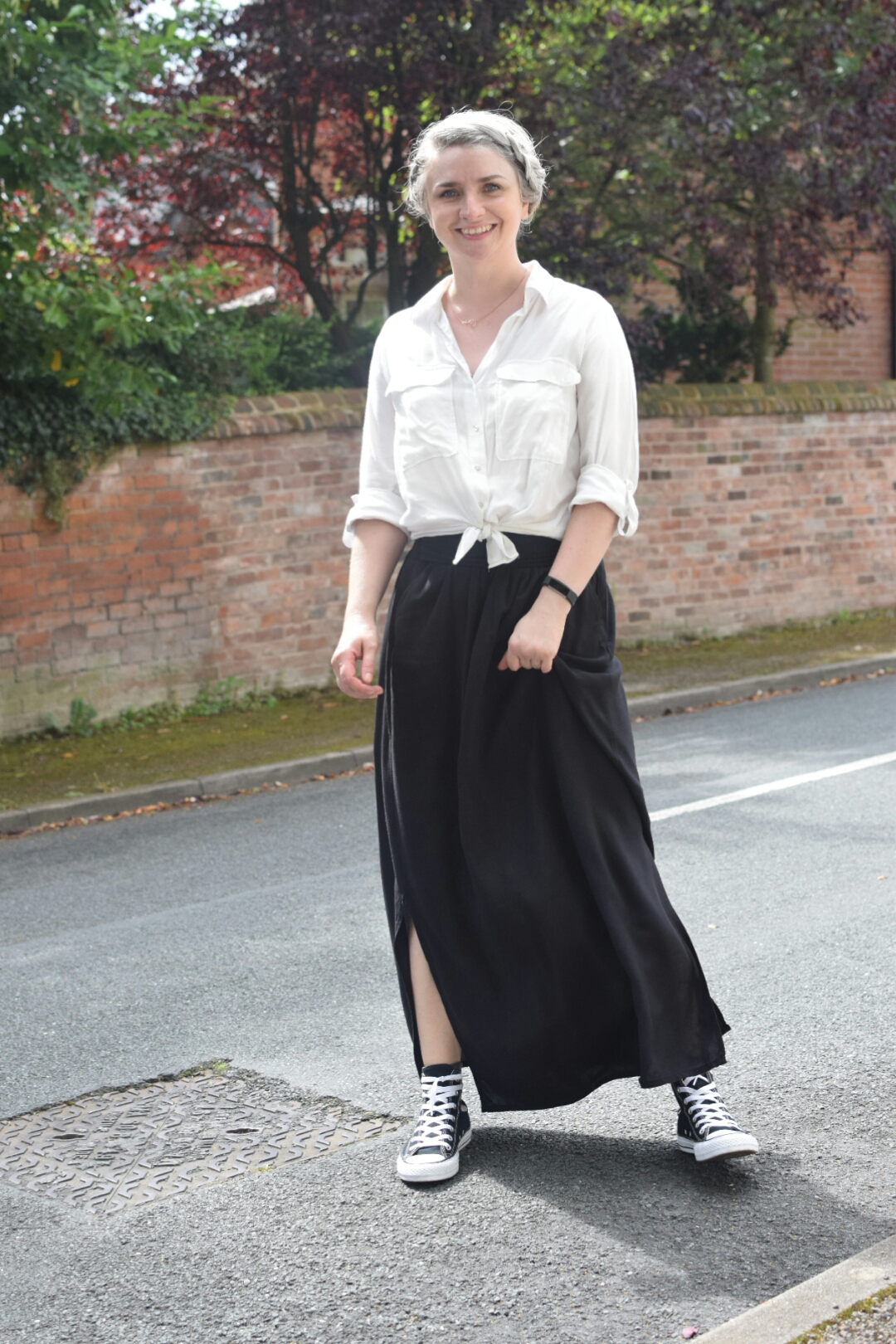 Zara White Shirt, New Look Black Maxi Skirt and Converse All Stars from La Redoute.