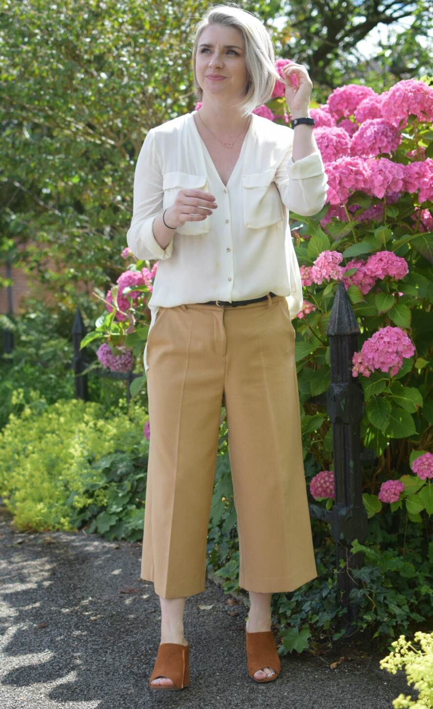 Zara White Shirt, RiverIsland Camel Culottes and Miss Selfridge Camel Mules.