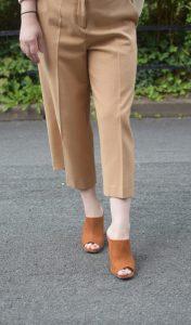 Zara White Shirt, RiverIsland Camel Culottes and Miss Selfridge Camel Mules.