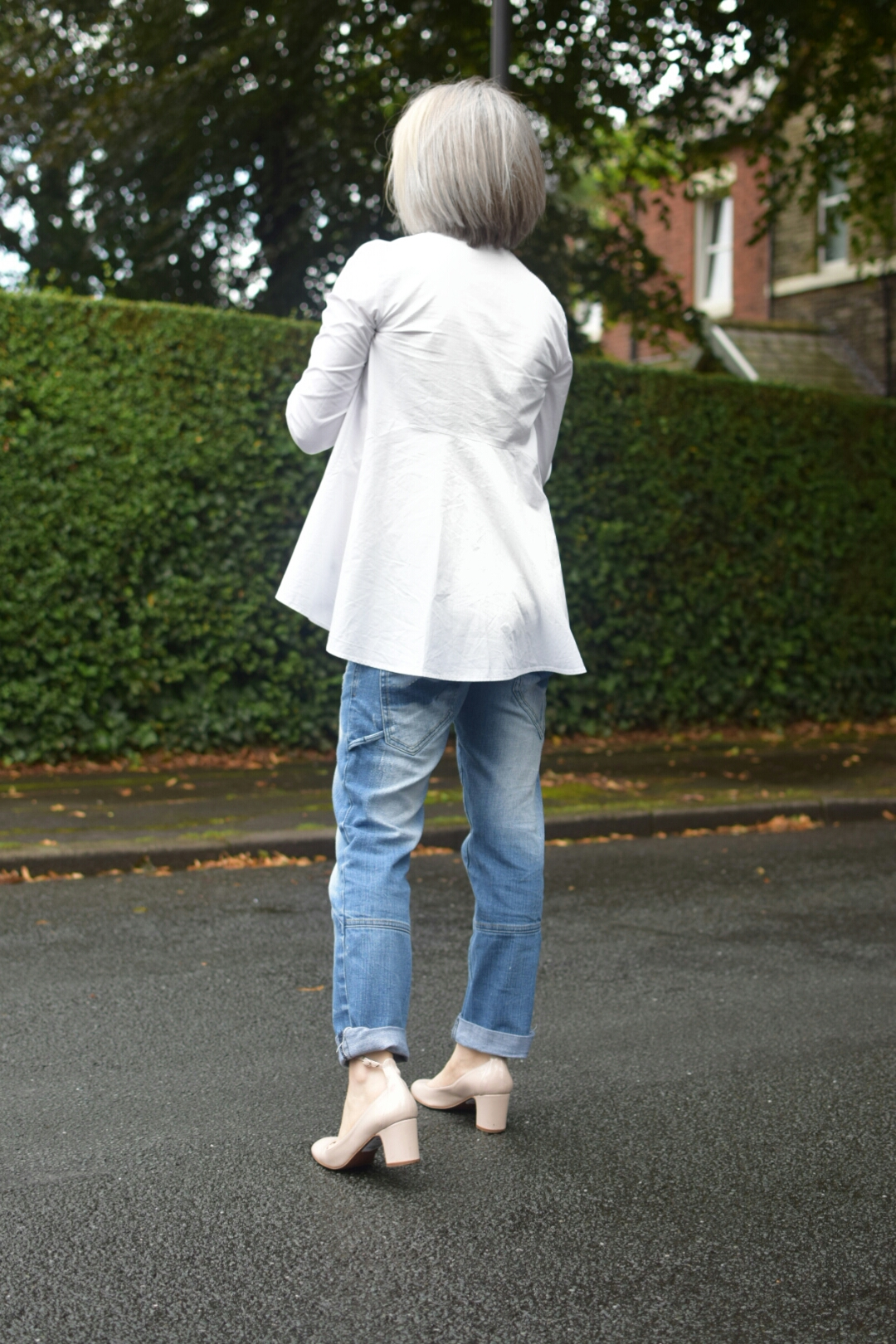 And Other Stories White shirt, Next MOM Jeans and Topshop Nude Mary Janes.