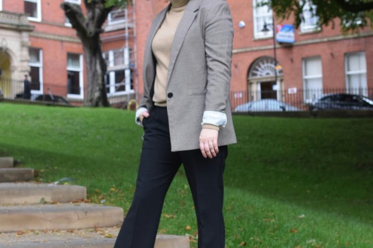 Bershka Checked Blazer, Marks and Spencer Cashmere Polar neck, Mango Flared Trousers and Zara Boots.