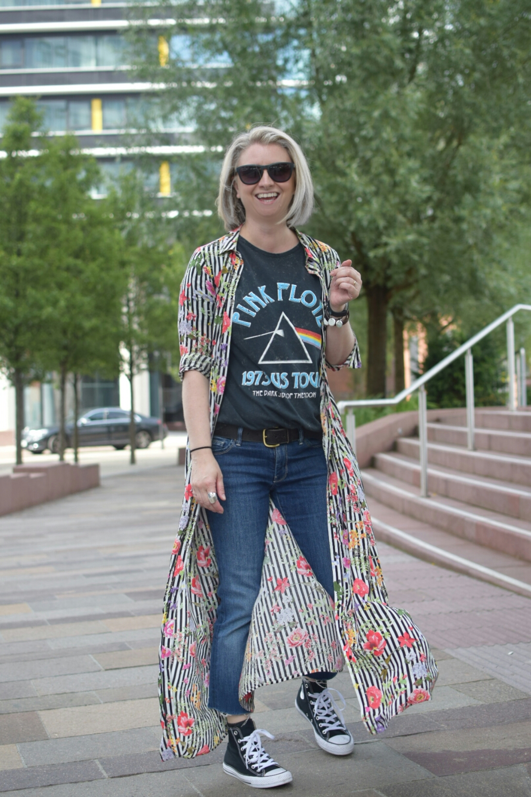 Zara Floral A-Line Dress, Pink Floyd Band Tee, 7ForAllMankind Jeans and Black Hi-Tops Converse.