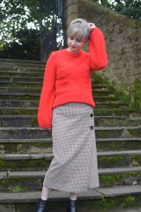 George@ASDA Red Jumper, Zara Checked Midi Skirt and Topshop Ankle Boots.