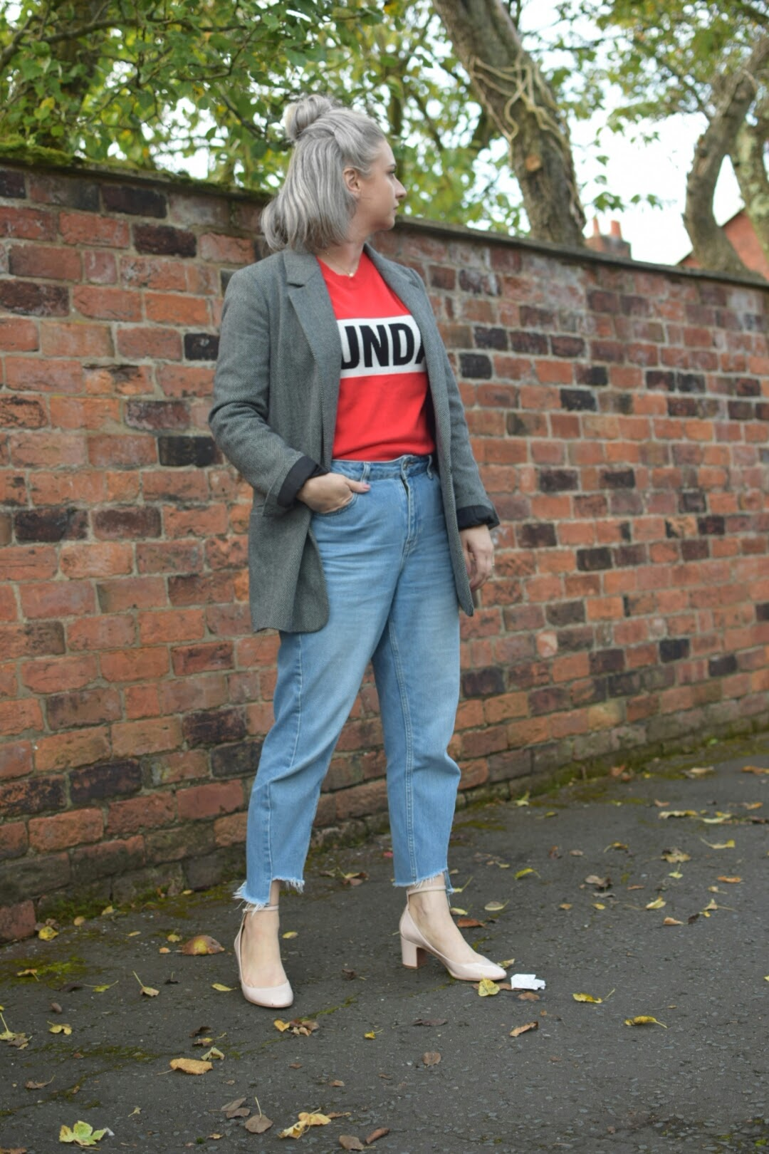 NewLook Red Jumper,Topshop MOM Jeans,Zara Jacquard Blazer,TopshopNude Courts_7