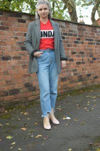 NewLook Red Jumper Topshop MOM Jeans Zara Jaquard Blazer Topshop Nude Courts