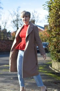 Topshop Red Top,Urban Outfitters BDG Jeans, Jaeger Camel Coat and Topshop Mary Janes.