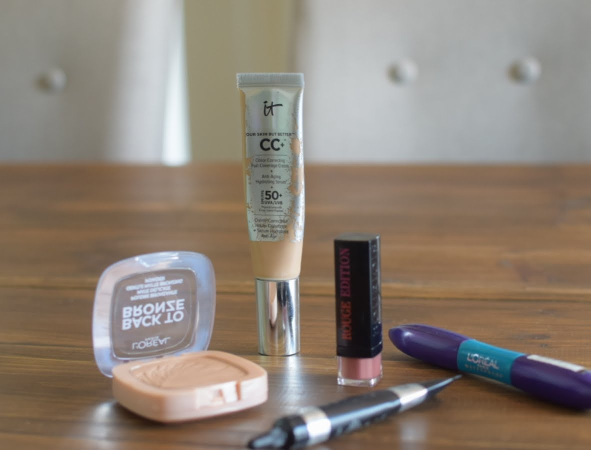 Loreal Back to bronze, Loreal falsh Lash X Fiber, Bourjois Rouge edition lipstick, It Cosmetics CC Cream and It cosmeticsBye Bye Concealer.