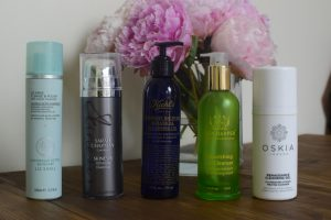Liz earle Cleanse and polish, Sarah chapman Skinesis Ultimate Cleanse, Kiehls Midnight Recovery, Tata harper Nourishing Oil Cleanser and Oskia Renaissance Cleansing Gel.